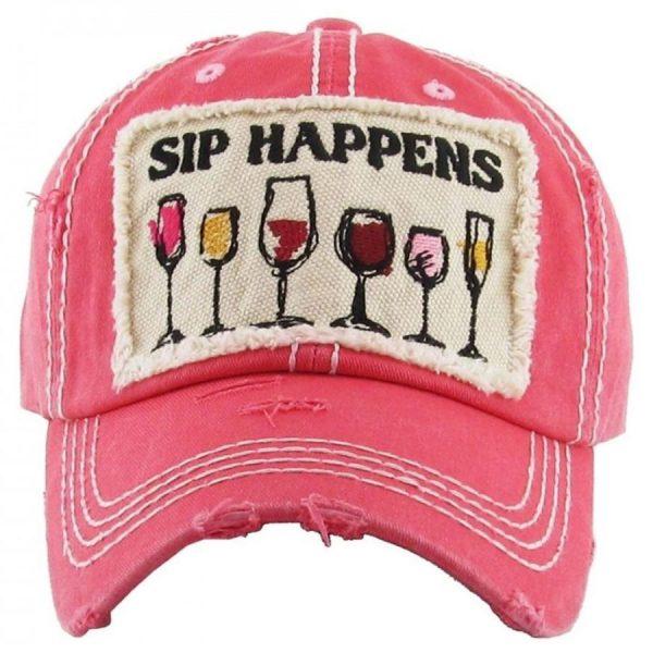 Sip Happens Wine Pink Hat