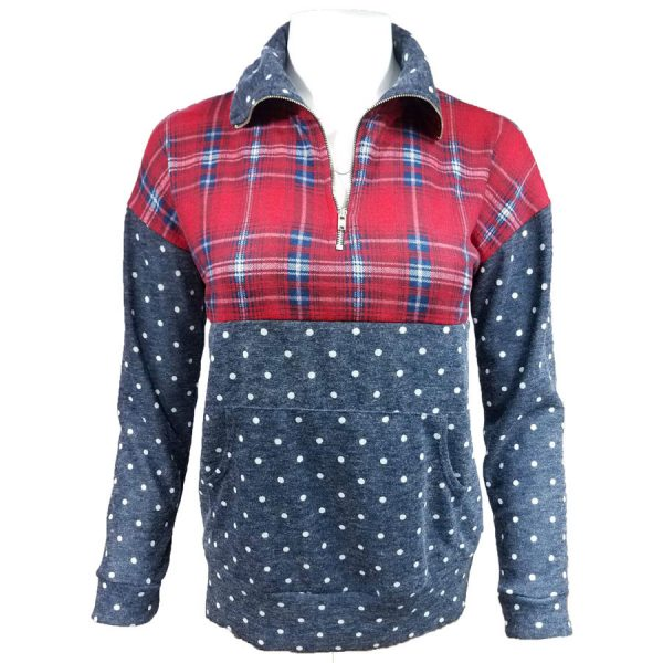 Plaid, Dots, Pullover, shirt, sweatshirt,zip, zipper, womens