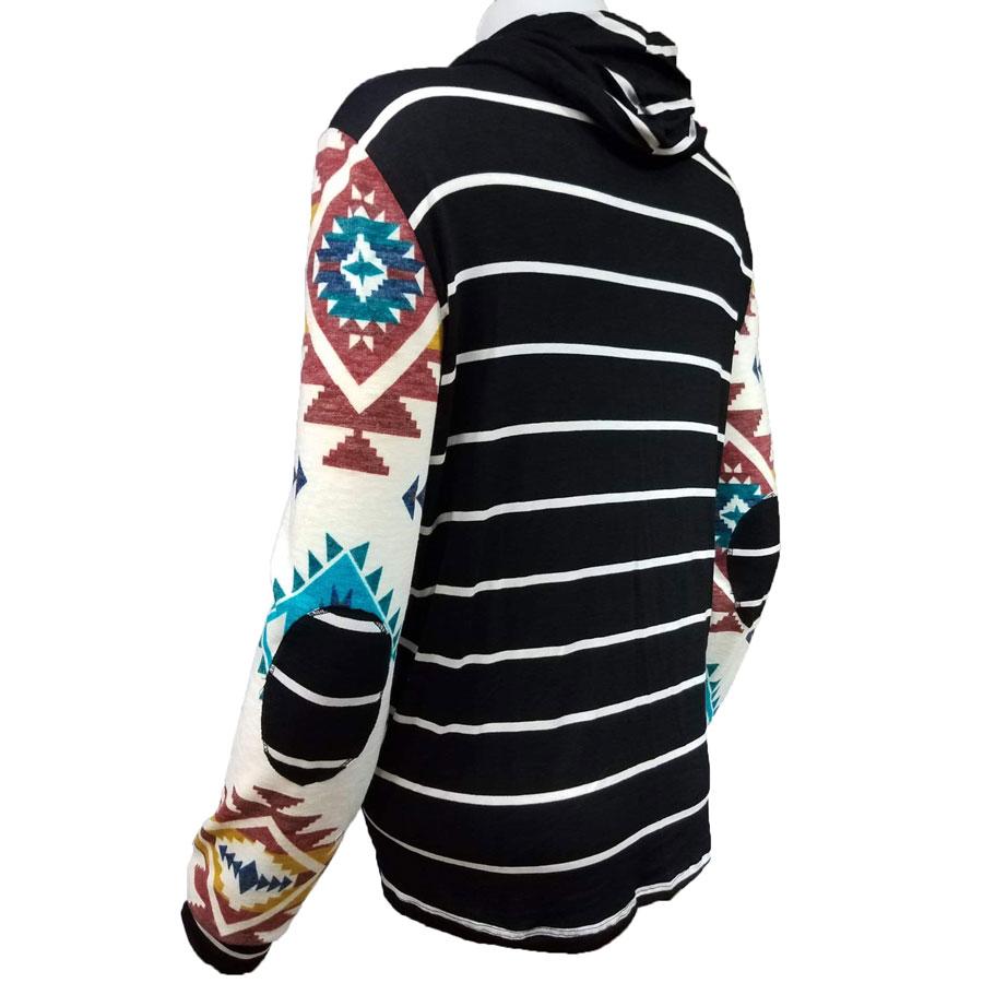 Aztec, Stripe, Cowl, Neck, shirt, womens