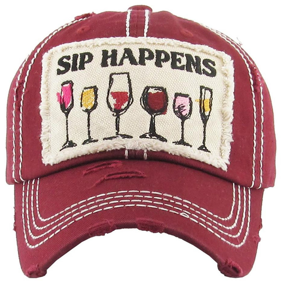 Sip, Happens, Burgundy, Womens, Hat