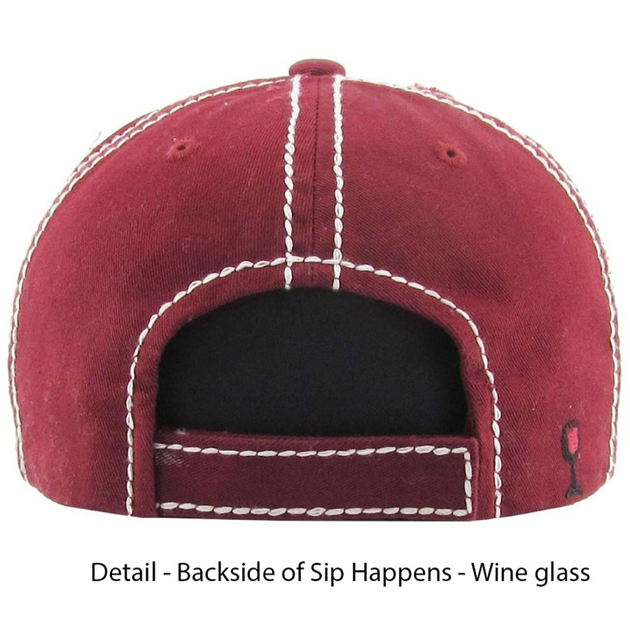 Sip, Happens, Burgundy, back, Womens, Hat
