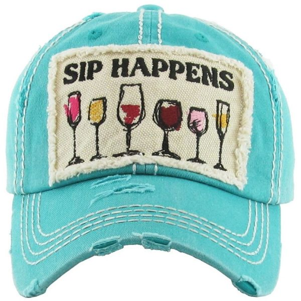 Sip, Happens, Turquoise, Womens, Hat
