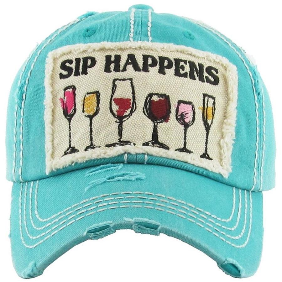 Sip Happens Wine Teal Hat