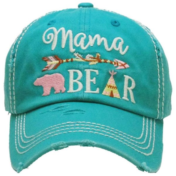 Mama, Bear, Turquoise, Womens, Hat