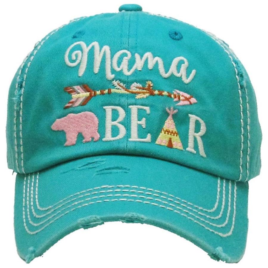 Mama, Bear, Turquoise, Womens, Hat