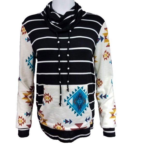 Aztec, Stripe, Cowl, Neck, Pullover, shirt, womens