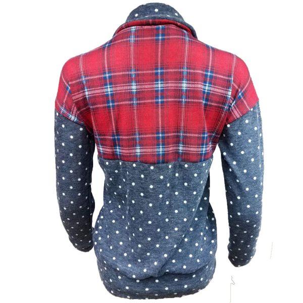 Plaid, Dots, Pullover, zip, zipper, shirt,womens