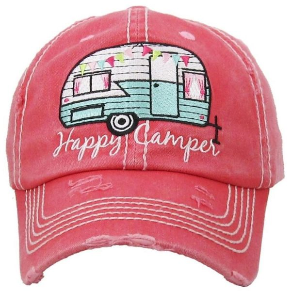 Happy, Camper, Pink, Womens, Hat