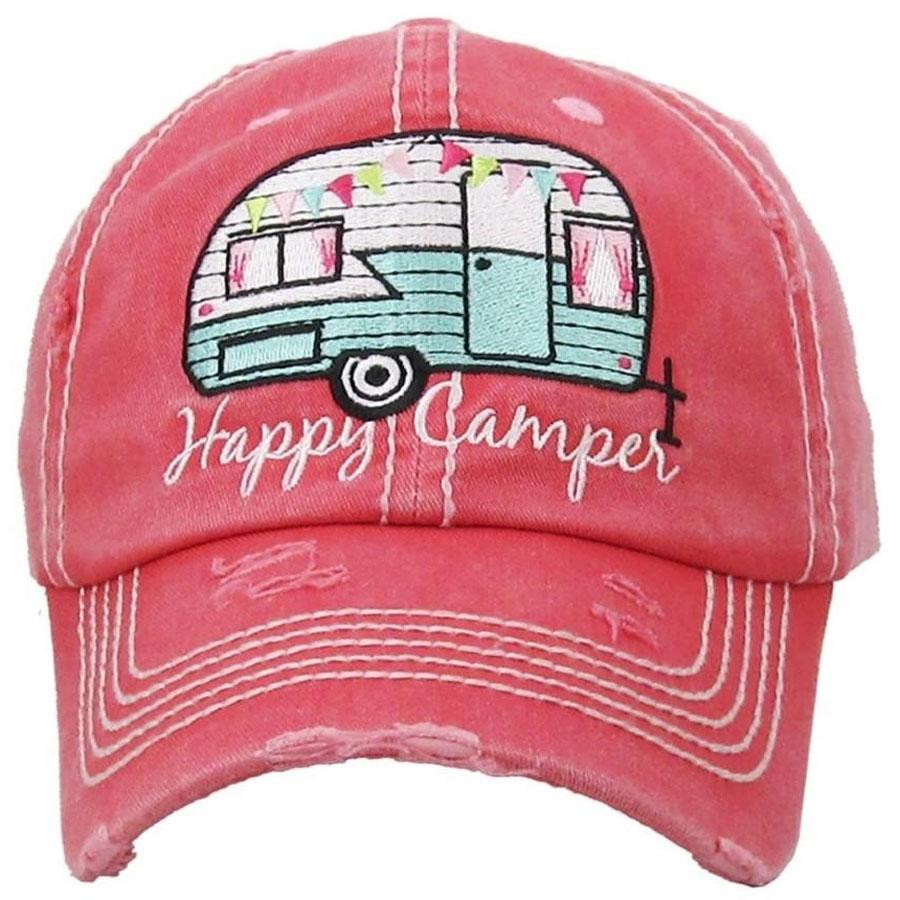 Happy camper distressed pink hat
