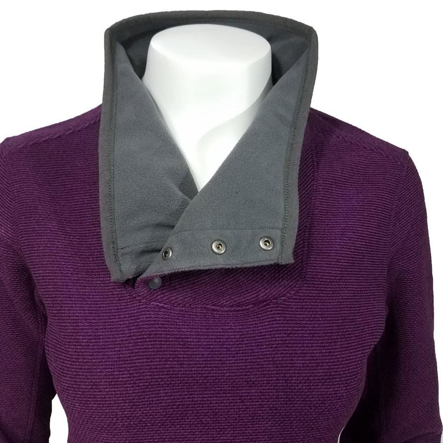 White Sierra Blacktail Snap Neck Fleece Pullover Grape