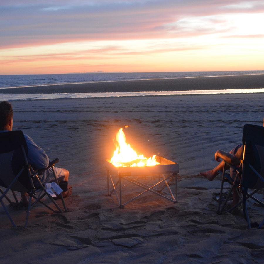 portable, campfire, beach