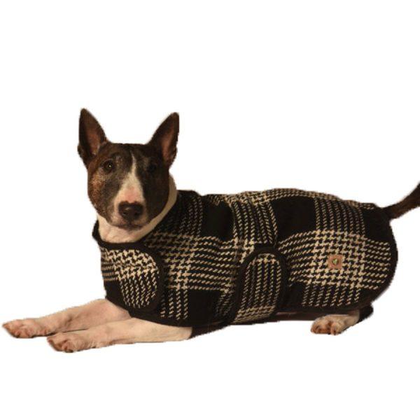 Chilly Dog Black-and-White-Plaid-Dog-Blanket-Coat-1