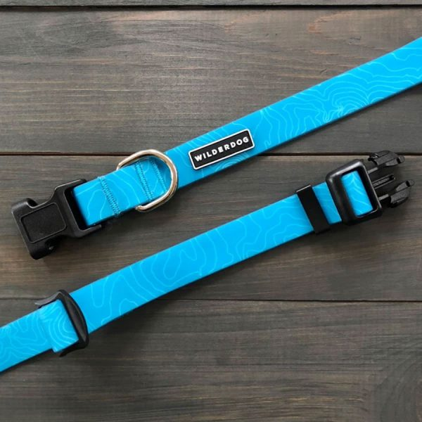Teal blue waterproof collars by Wilderdog
