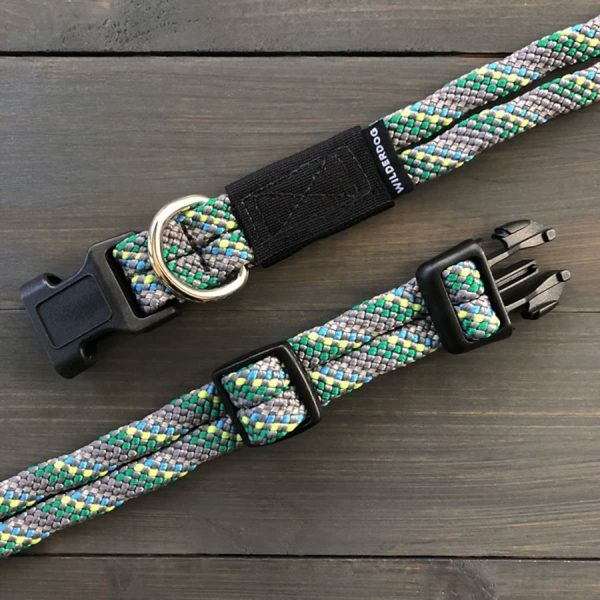 grey green blue Collars made of climbing rope that glow when reflecting light