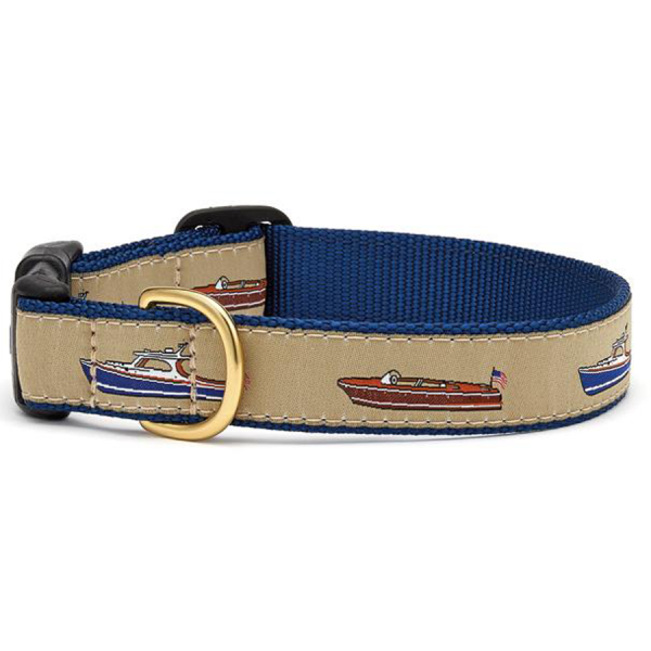 Antique wooden boats blue tan collar