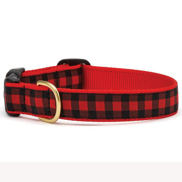 Buffalo check red and black collar