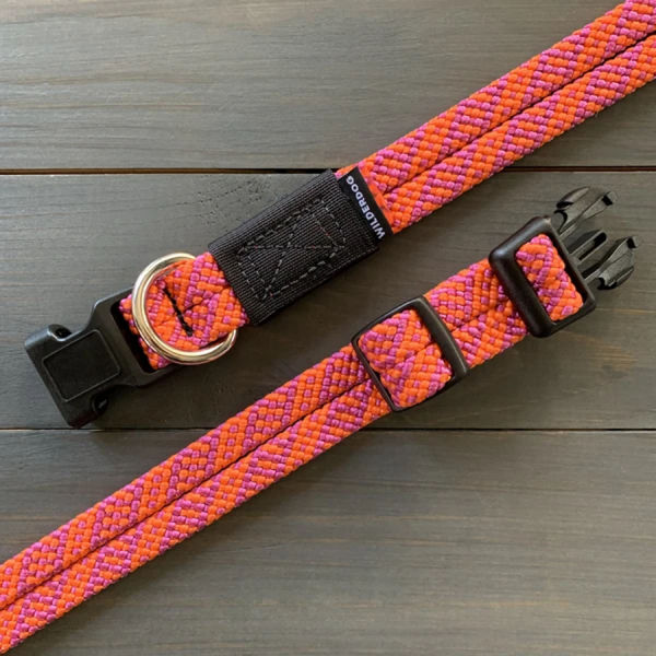 Sierra orange and pink Range collection collars made of climbing rope