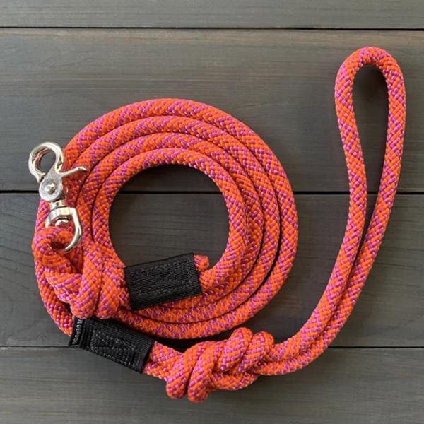 Sierra orange and pink Leash made of climbing rope with swivel clip