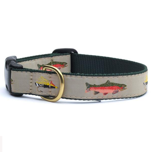 Trout and fly fishing dog collar
