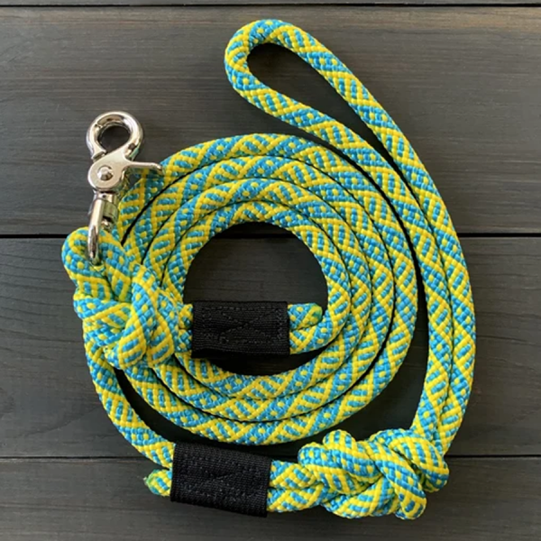 Wasatch yellow and turquoise Leash made of climbing rope with swivel clip