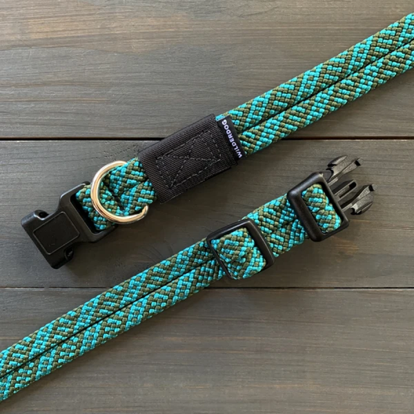 Cascade turquoise and green Range collection collars made of climbing rope