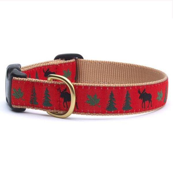 Moose, pine trees and leaves on a red collar