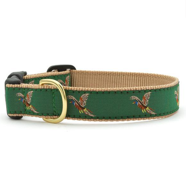 Pheasants flying on a green collar