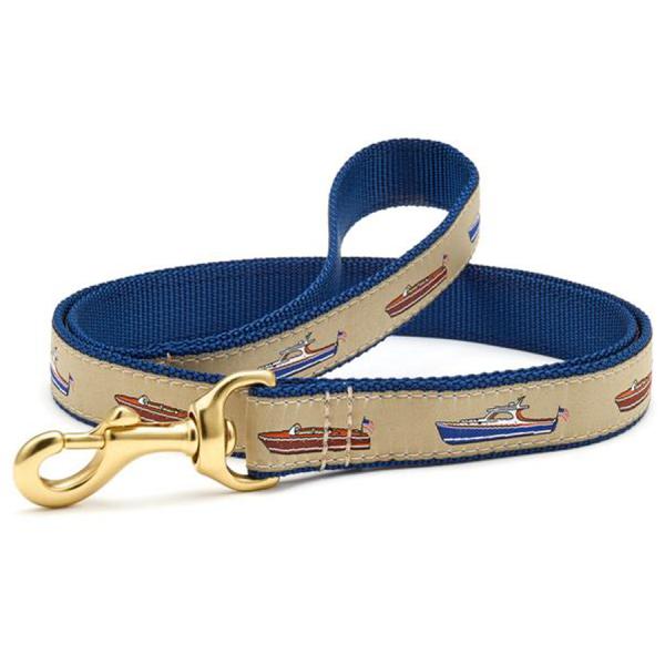 Antique wooden boats blue tan leash
