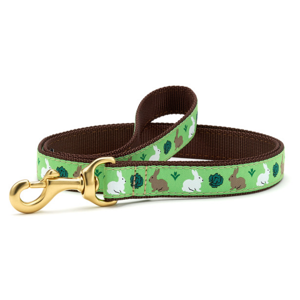 Green leash with white and brown bunnies