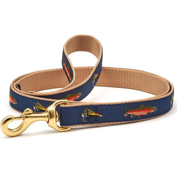 Trout and fly fishing dog collar blue
