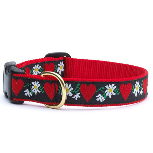 A collar with heart and flower design