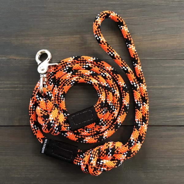 Leash made of climbing rope with a easy swivel clip.