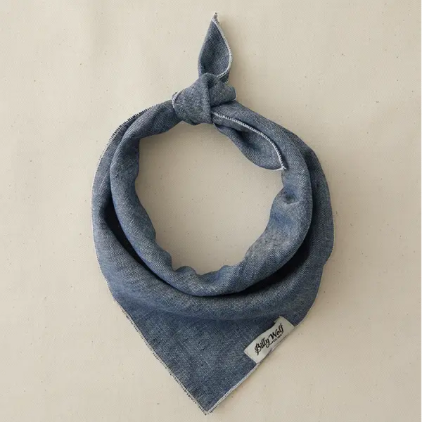 Billy Wolf linen dog bandana classic light denim