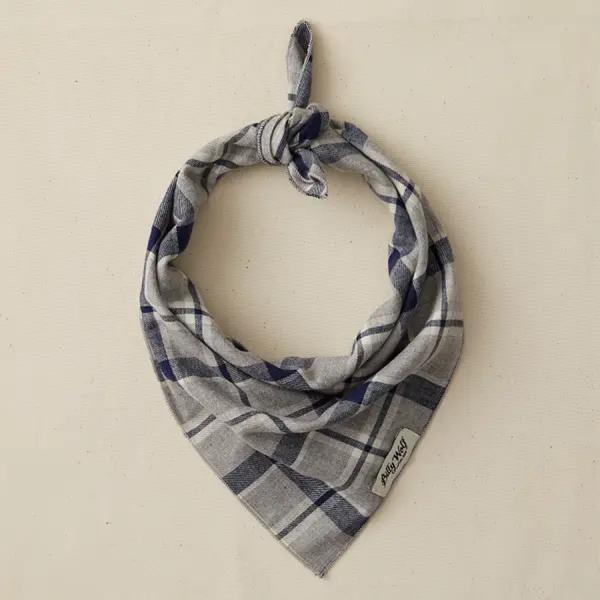 Billy Wolf linen dog bandana grey and blue plaid