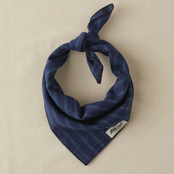 Billy Wolf linen dog bandana classic denim with kight stripes