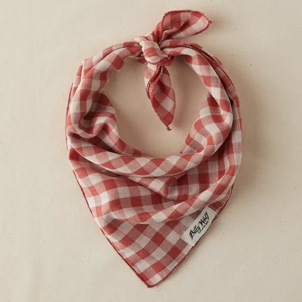 Billy Wolf linen dog bandana reversible washed red with cream stripes