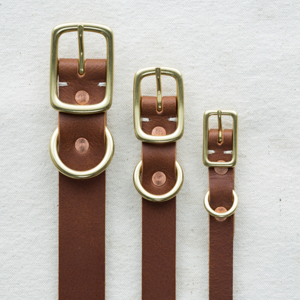 Billy Wolf classic brown leather collar widths