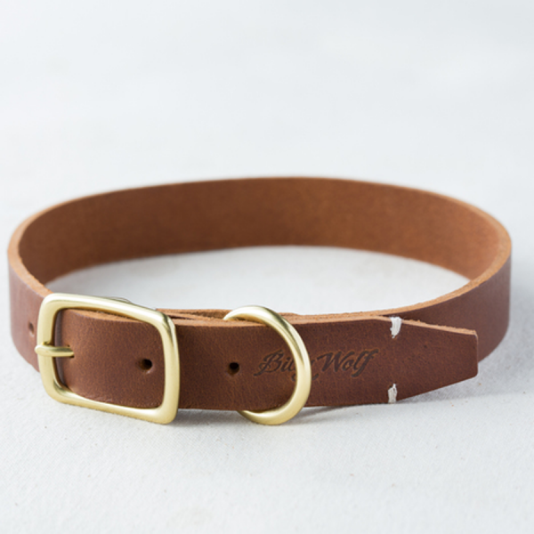 Billy Wolf classic brown leather collar