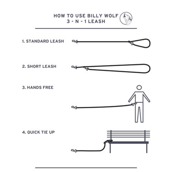Billy Wolf 3 in 1 leash use diagram instructions