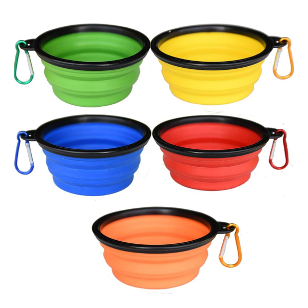 All colors of the collapsible travel dog food/water bowl