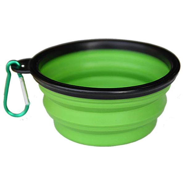 Green collapsible travel dog food/water bowl