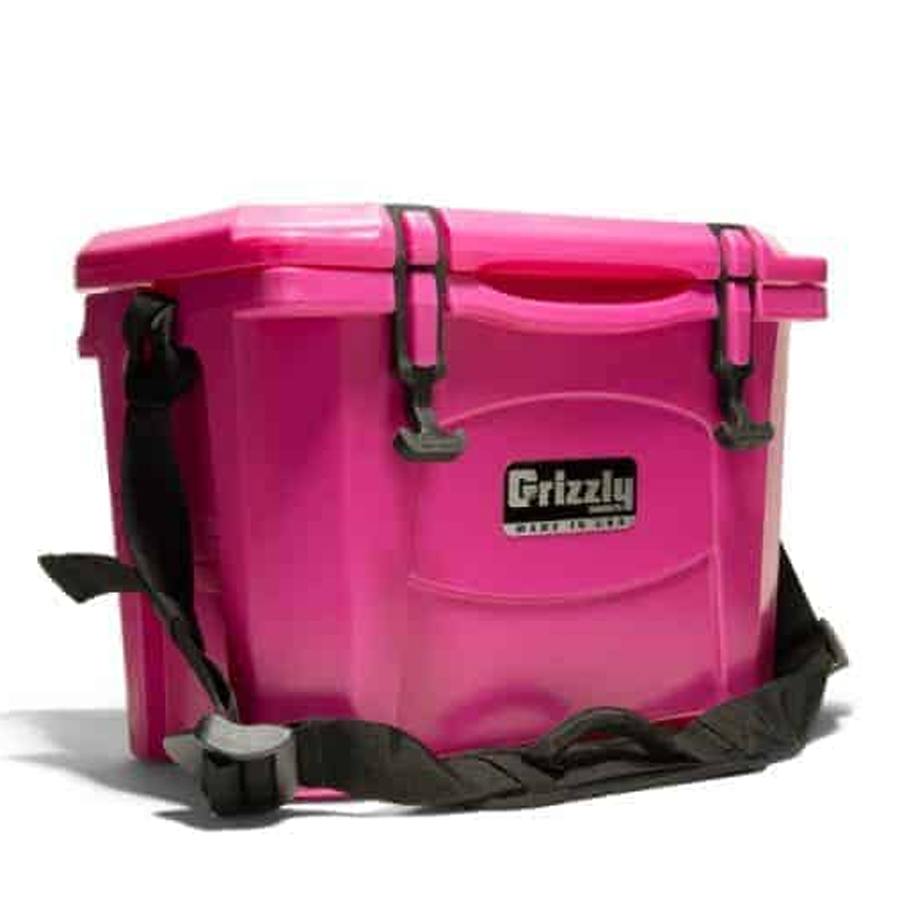 Pink personal size cooler angle view