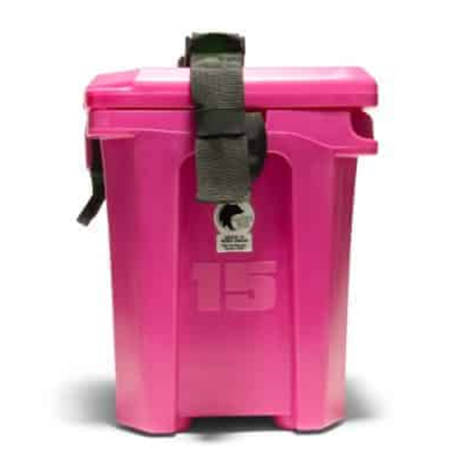 Pink personal size cooler side view