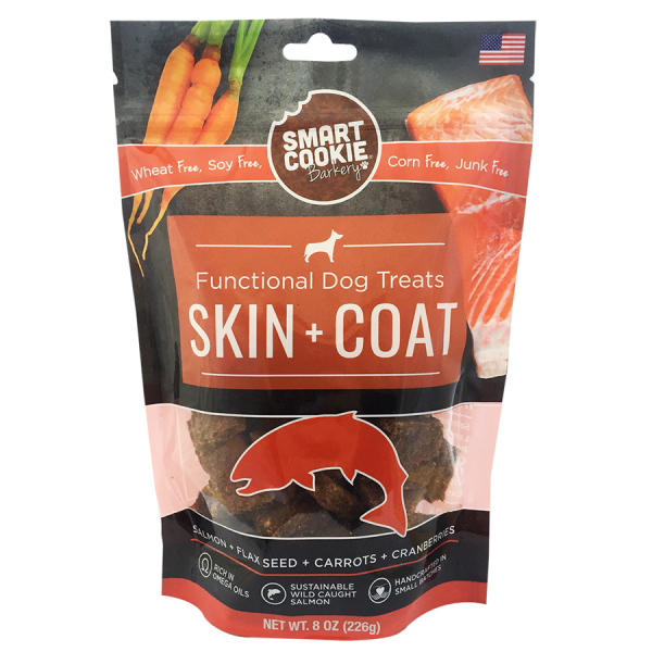 Healthy salmon skin+coat dog treats package
