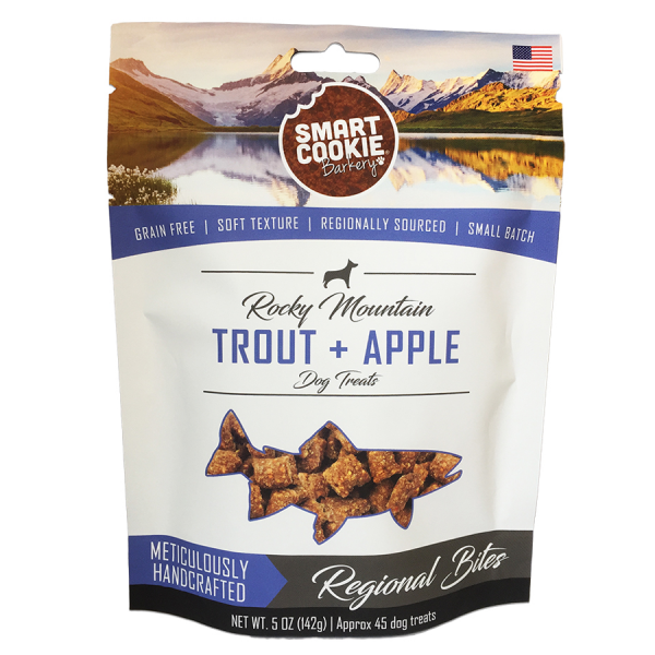 Healthy trout+apple dog treats package