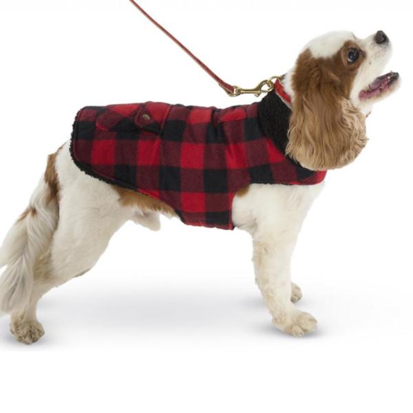 Buffalo Check Fleece Coat on a dog
