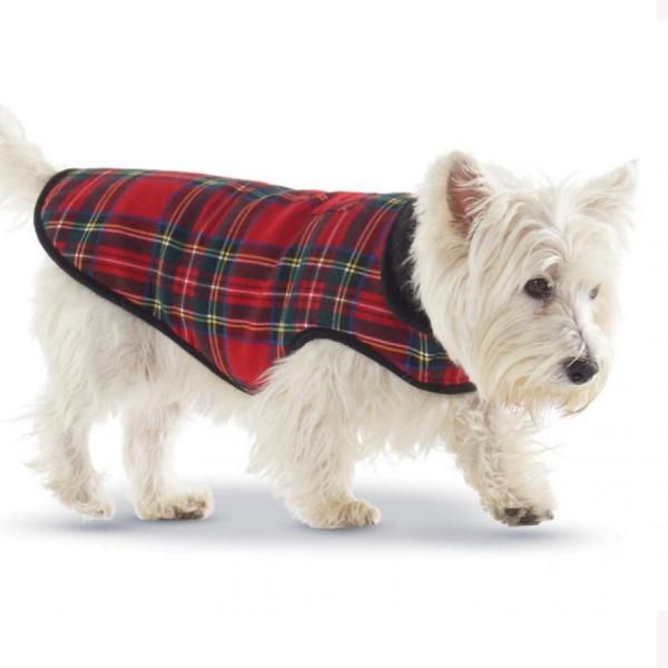 Red Plaid Fleece Lined Coat on a dog