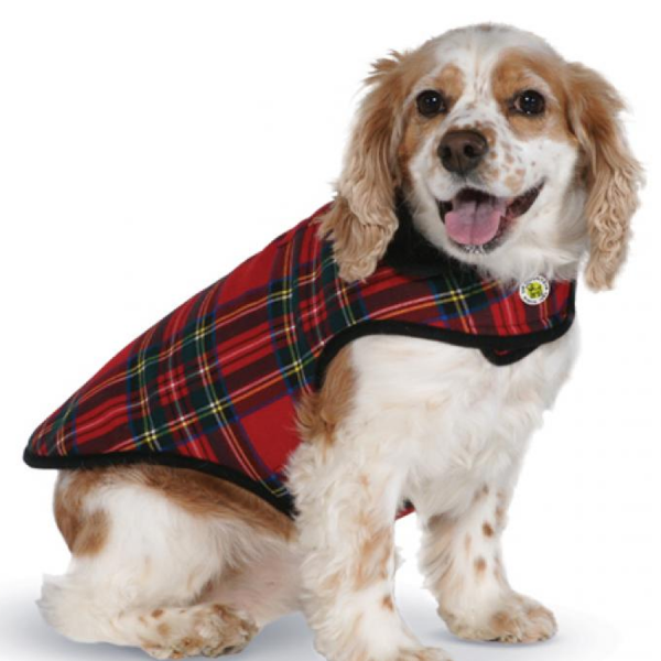 Red Plaid Fleece Lined Coat on sitting dog