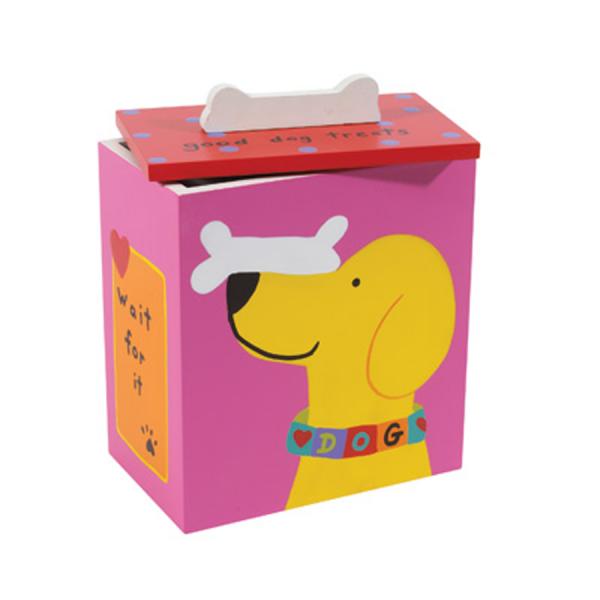Dog with bone on nose treat box