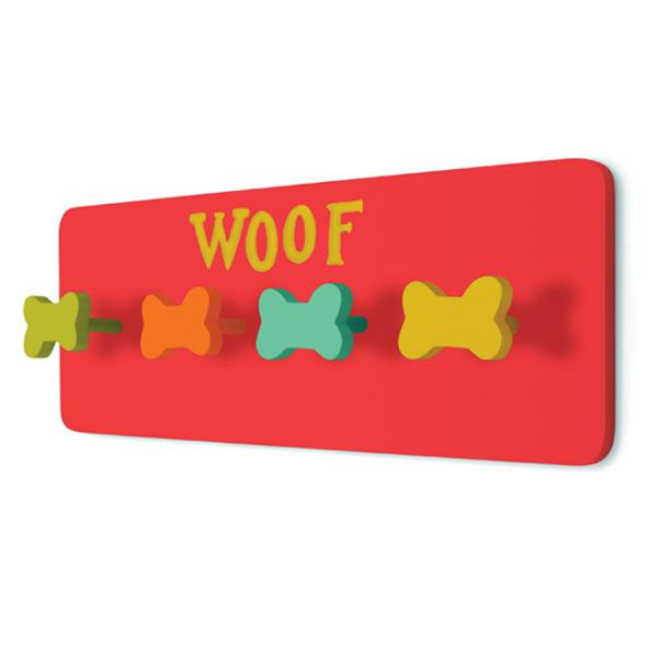 A red wall rack to hang your dog's leash
